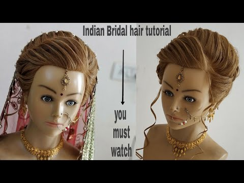 Brida hair tutorial step by step/Indian bridal hairstyles/wedding hairstyle bridal bun/bridal bun.
