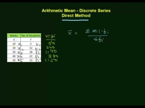 Arithmetic Mean - Discrete Series - Direct Method (in Hindi)