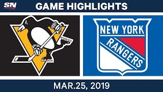 NHL Game Highlights | Penguins vs. Rangers - March 25, 2019
