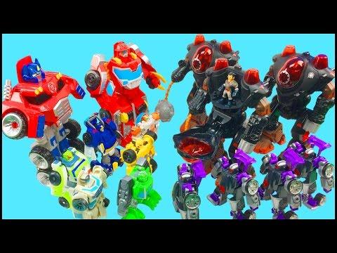 Transformers Rescue Bots Optimus Prime Chase Bumblebee Boulder Heatwave Battle Imaginext Robots Toys