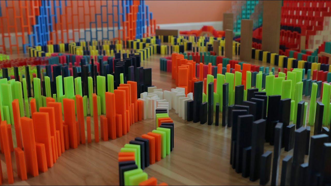 Huge Domino Chain Reaction in 12,345 Dominoes!