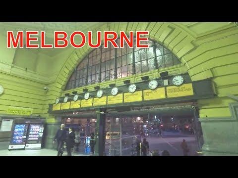 MELBOURNE CITY CENTER NIGHT TIME VICTORIA AUSTRALIA