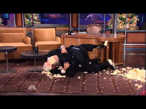Jay Leno cake fight scene with Terry Bradshaw
