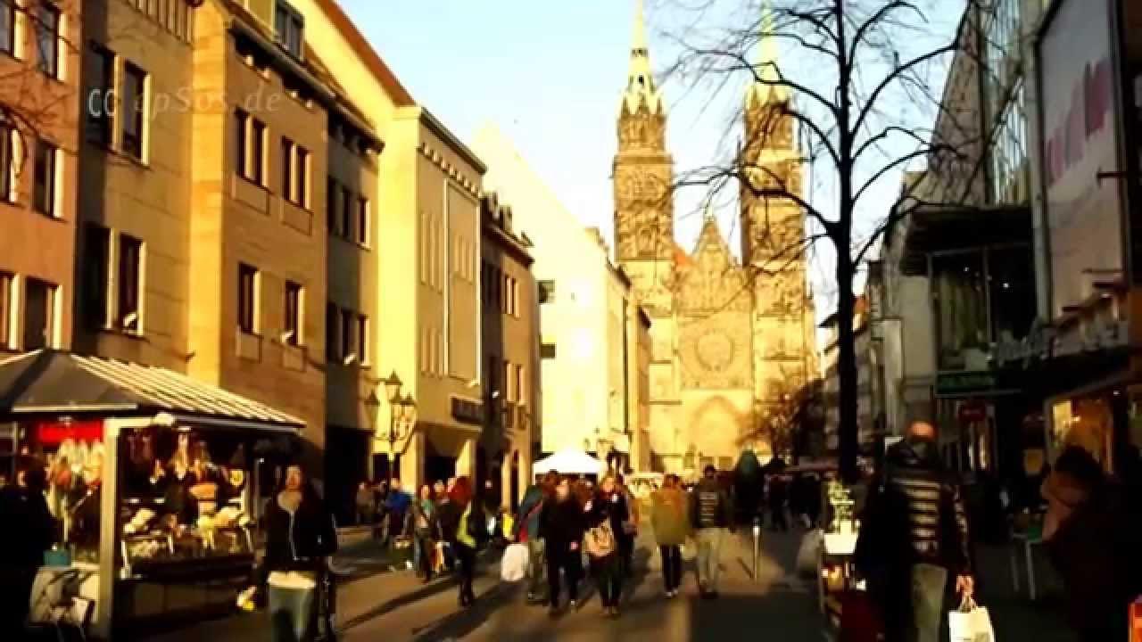 nuremberg shopping street in europe youtube. Black Bedroom Furniture Sets. Home Design Ideas