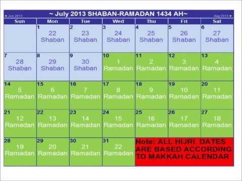 Hijri 1434 AH / 2013 HIJRI Calendar