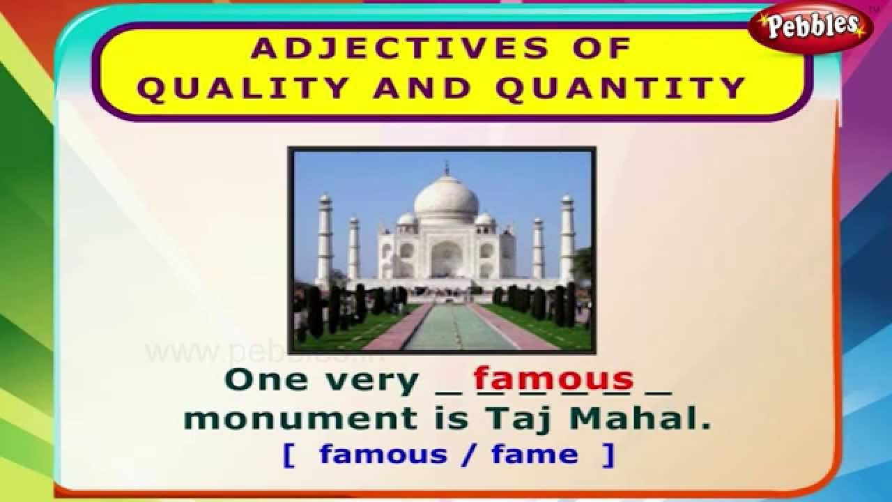 Adjectives of quality and quantity english grammar exercises for adjectives of quality and quantity english grammar exercises for kids english grammar youtube robcynllc Image collections