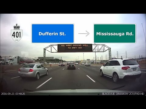 Driving in Toronto - Morning rush hour on highway 401 west  (Front dash cam)