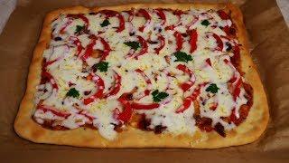 Рецепт ТОНКОЙ пиццы и СОУСА вкусная ПИЦЦА с курицей
