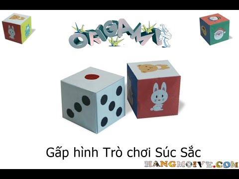 Cách gấp, xếp hột xúc xắc bằng giấy origami - Video hướng dẫn xếp hình - How to make a dice