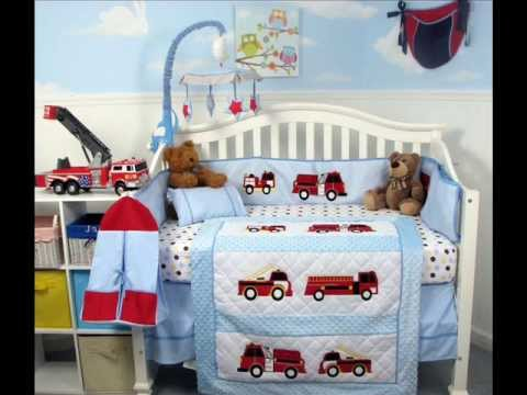 SoHo Fire Trucks Baby Crib Nursery Bedding Set 13 Pcs ; Girl Nursery Room