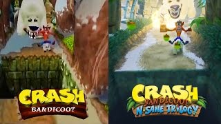 Crash Bandicoot N. Sane Trilogy - PS1 vs PS4 Gameplay Comparison @ 1080p (60ᶠᵖˢ) HD ✔