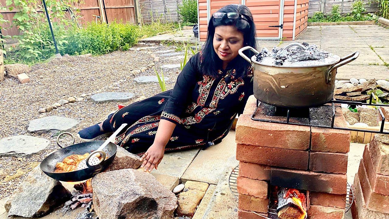 Rocket stove தம் பிரியாணியும் தோட்டத்து பொறிச்ச கோழியும்/outdoor cooking&Dining/Biryani challenge