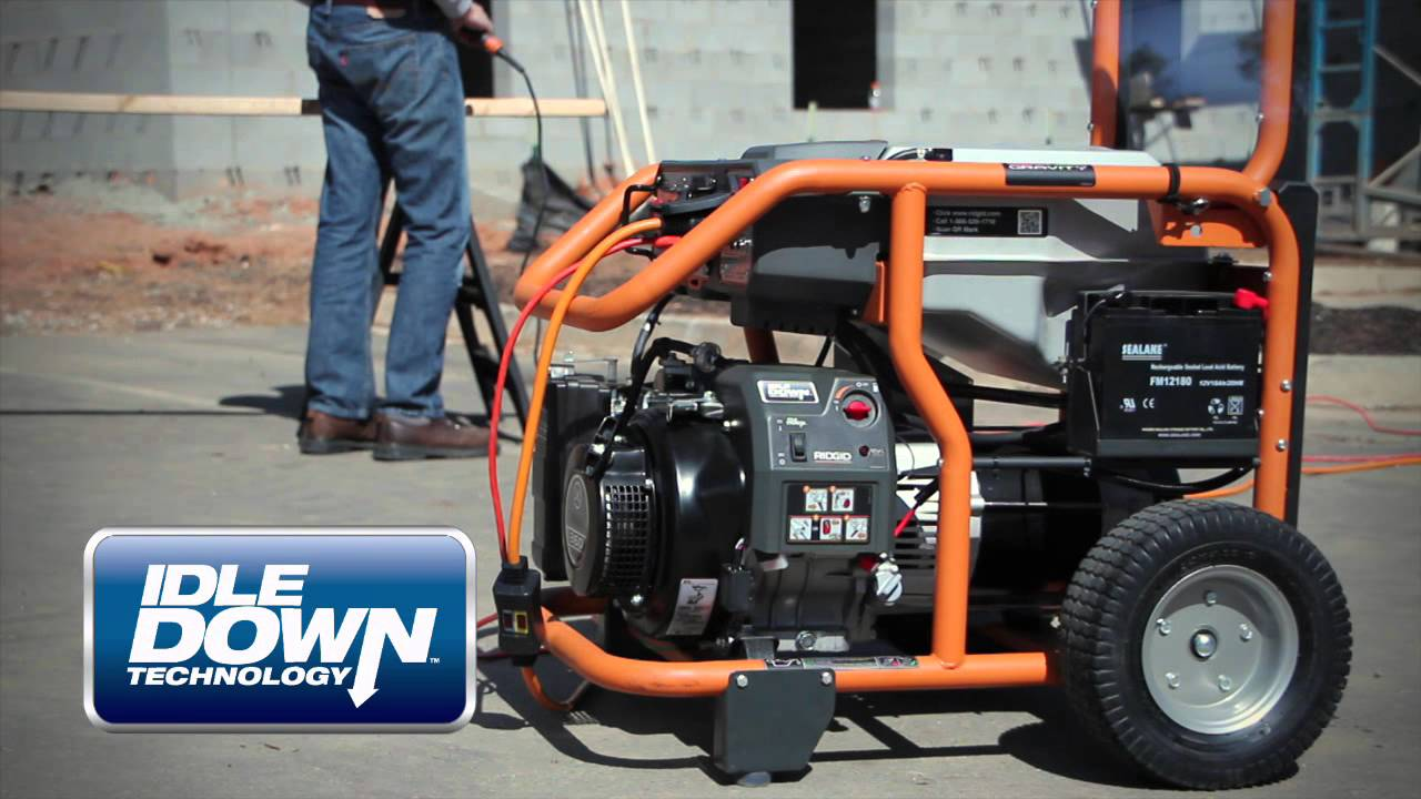 RIDGID 6,800-Watt Yamaha 357 cc Electric Start Idle Down Gas Powered  Portable Generator
