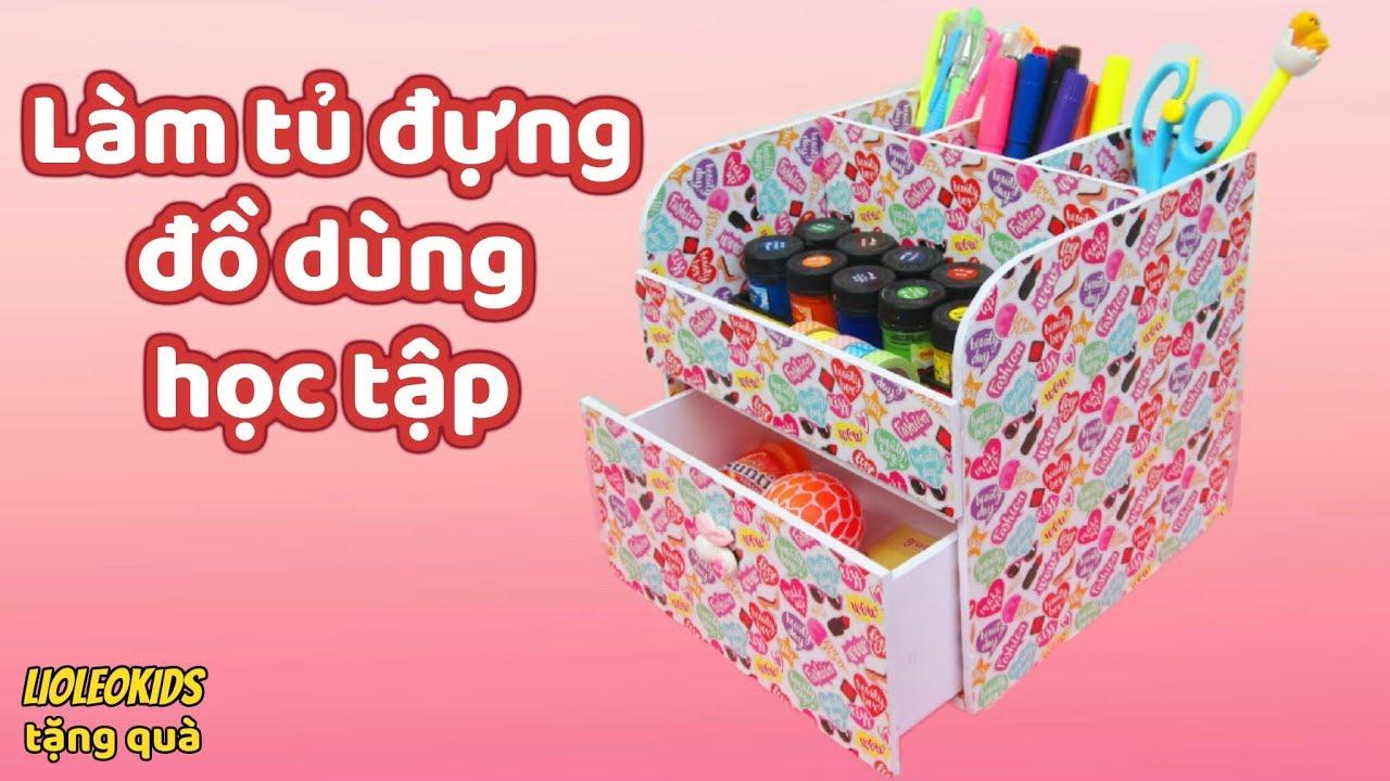 Lioleokids tặng 10 phần GUDETAMA & MÓN ĐỒ BÍ ẨN/ Cách làm Tủ đựng đồ dùng học tập/Diy Desk Organizer
