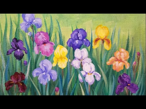 Iris Flower Garden LIVE Impressionist Acrylic Painting Tutorial