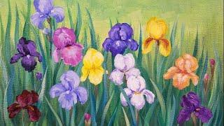 Iris Flower Garden LIVE Impressionist Acrylic Painting Tutorial