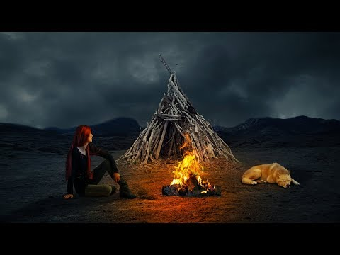 Fire camp photo manipulation and blending | photoshop tutorial