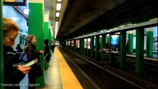 MBTA Green Line: Three Trains at Arlington Station