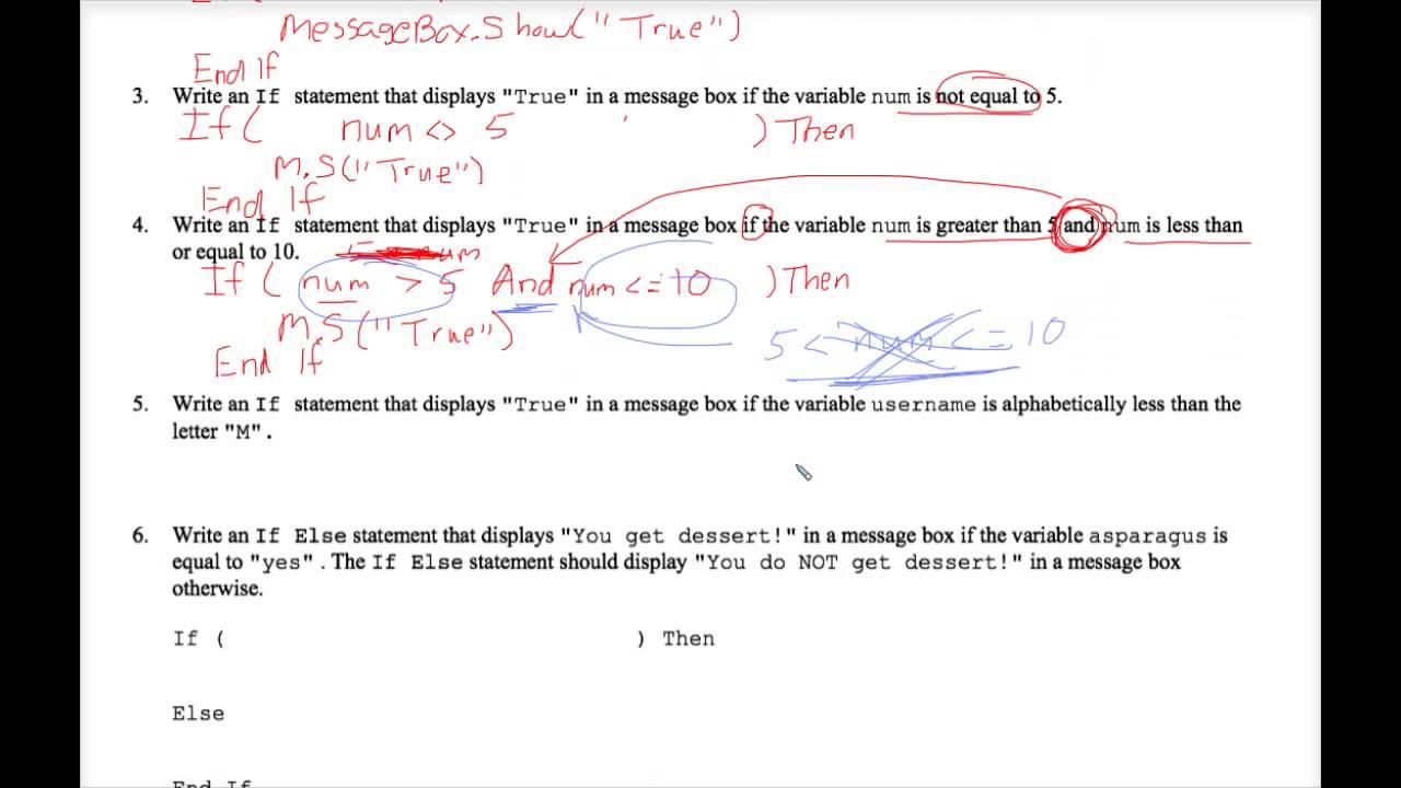 VB Writing If Statements Worksheet 1