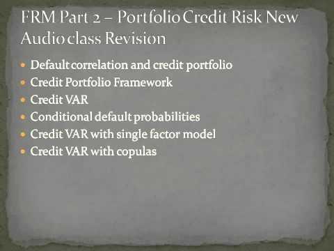 Financial Risk Manager -Portfolio credit Risk