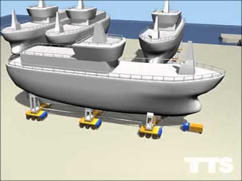TTS Handling Systems Powered Wheel Transport (PWT) Ship Launch Animation