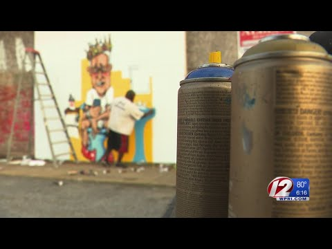 Unusual mural painted in North Providence of Mayor Charles Lombardi