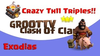 Amazing Town Hall 11 Three Star Attacks From Exodias Clash On GrootTV