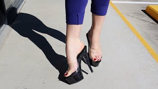 Nataleigh Tries Out Pleaser KISS-201MG Black Galaxy Glitter Clear 6 Inch High Heel Mule Slide Shoes