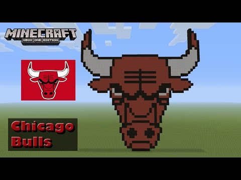 Minecraft: Pixel Art Tutorial and Showcase: Chicago Bulls Logo (NBA)