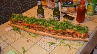 Shrimp And Seafood Po' Boy Sandwich
