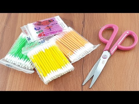 Awesome decorating idea with cotton buds | Best craft idea | DIY arts and crafts | DIY cotton buds