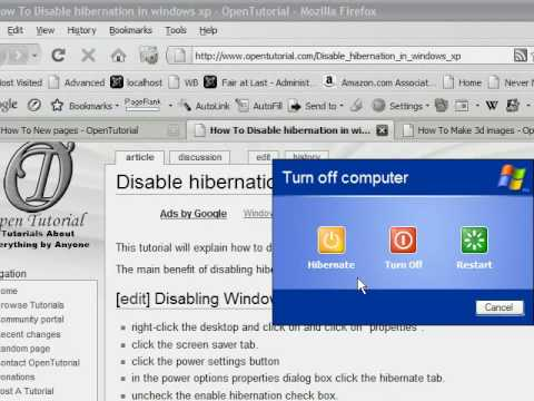 How to Enable or Disable hibernation in Windows XP