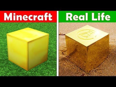 GOLD BLOCK IN REAL LIFE! Minecraft vs Real Life animation CHALLENGE