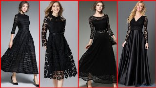 Exclusive And Outstanding Beautiful Black Frock /A_Line /Maxi Dress Design