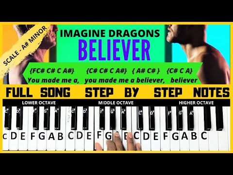 Believer Song | Imagine Dragons | Piano Letter Notes | Keyboard Letter Notes | Full Song Tutorial