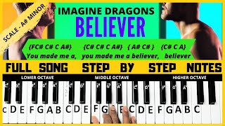 Download lagu Believer song | Imagine dragons | piano letter notes | keyboard letter notes | full song tutorial