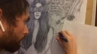 Природа. Женщина. Свобода. Естественность. Тишина. Картина. Графика карандашом.