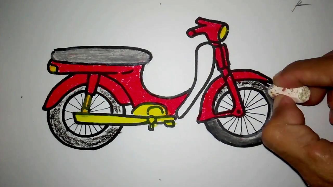 cara menggambar sepeda motor bebek
