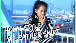 how to style a leather skirt with monochrome   l a z y d a z z y