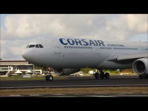 Corsair Airbus 330  300 take off Mayotte airport;