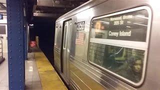 IND 6th Avenue: Westinghouse R68 (D) train departs 7th Avenue - 53rd Street