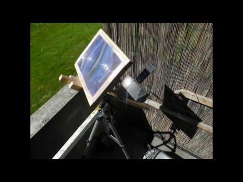 Messung: Solarenergie Fresnel-Linsen Konzentrator Temperatur messen. Die Kraft der Sonne.