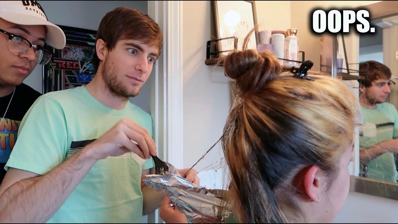 I COMPLETELY SCREWED UP My Girlfriend's Hair (HAIR DYE FAIL)
