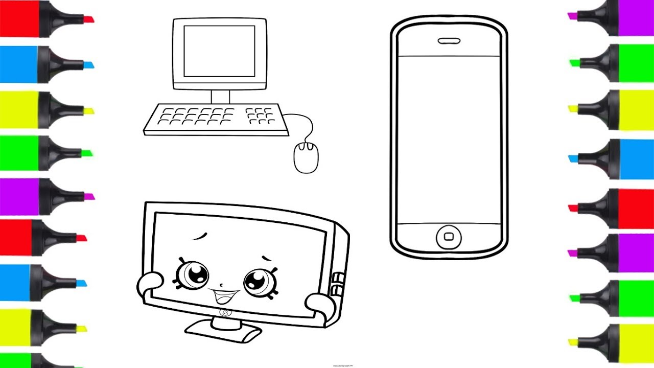 How To Draw Electronic Devices Phone, TV, Computer ...