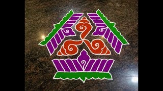 Colourful Rangoli Design with dots 15x8 for Festivals and Competitions | Easy and simple kolam