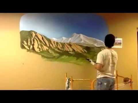 Mountain landscape mural painting in denver office space for Diy mountain mural