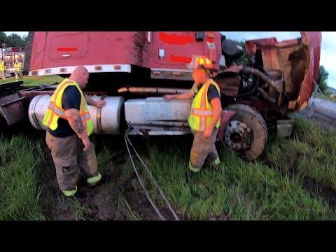 Code 2 Semi Crash Rollover?  In the Cables, In the Rain