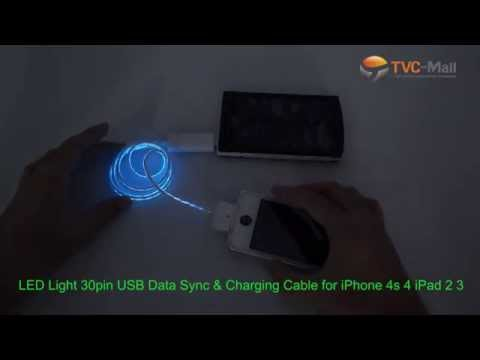 Illumilated LED USB Data Sync & Charging Cable, 30-pin / Lightning / Micro USB Cable