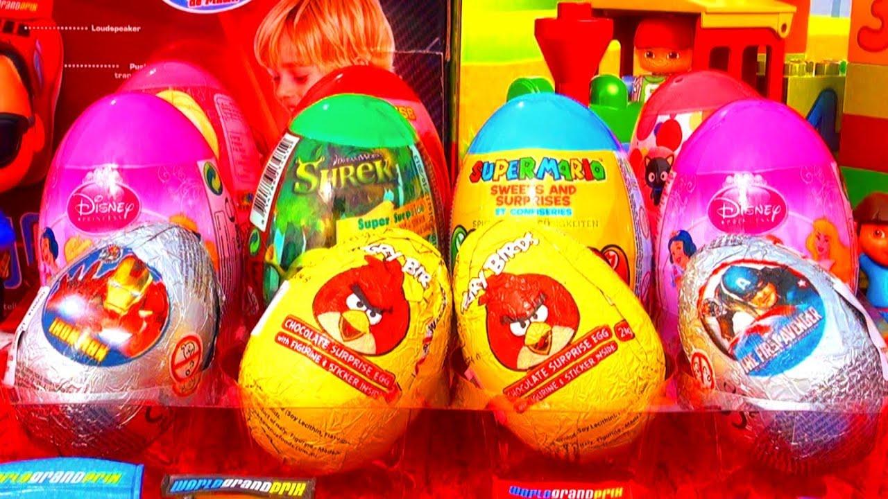12 Surprise Eggs Spongebob Angry Birds Disney Barbie Super
