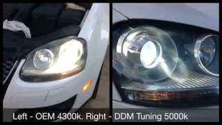 ddm tuning 5000k hid bulb swap and comparison vw gti with oem 35w ballasts